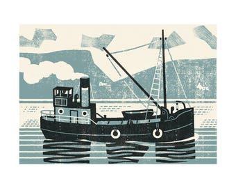 Clyde Puffer, original limited edition artists linocut print.