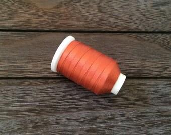 Vintage Gudebrod Bros Silk Thread Spool, Copper Orange, Size D, 260 Yards