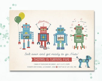 Robot, Robot party, Robot invitation, robot birthday invitation, Bolt on over,  Robot printable invite, Robot birthday invite, boys invite