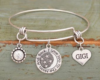 I Love You to the Moon and Back Gigi Adjustable Bangle Style Bracelet