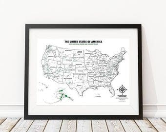 USA National Parks - Color In Map - Track Your Travels as You Color In Your Adventures - Gift Ideas for Travelers - Adult Coloring - Maps