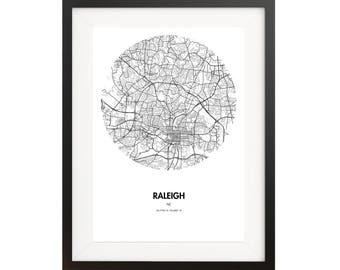Raleigh Map Poster - 18 by 24 inch Map Print