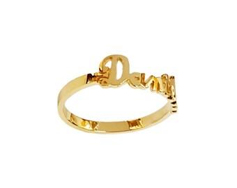 Lee086-14K 5mm 14K Gold Flowing Script Name Ring