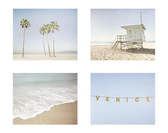 Set of 4 Prints - California Wall Art - Coastal Decor - Beach Photography - Santa Monica - Venice Beach
