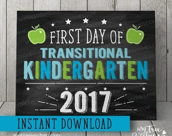 First Day of TK Sign, First Day of Kindergarten Chalkboard, First Day of School Sign, First Day of School Printable, Instant Download, Blue