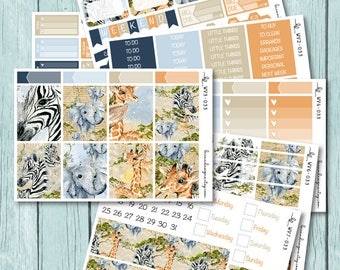 Safari Vertical Weekly Kit, Planner Stickers for use with ERIN CONDREN LIFEPLANNER™