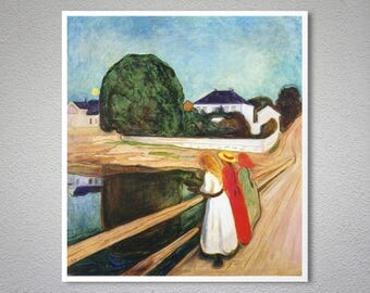 Girls on the Bridge by Edvard Munch, 1901 - Poster Paper, Sticker or Canvas Print
