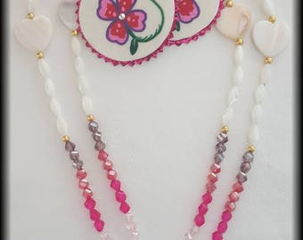 Pink Crystal Necklace and Earring Set
