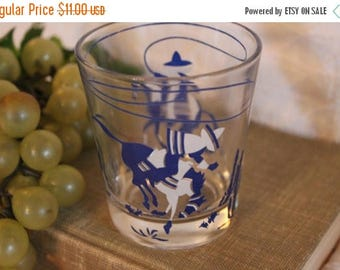 "Summer Sun Sale Vintage Blue and White 3.25"" Glass Tumbler or Juice Cup - Cowboy, Bucking Bronco, Southwestern Motif"