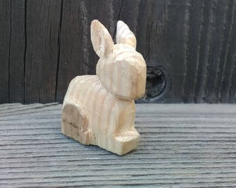 Miniature Rabbit Hand-Carved Figurine