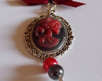 Gothic necklace black and Red