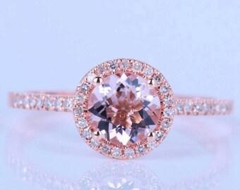 1.05 Carat Genuine Round Morganite and Diamond Halo Ring in 14K Rose Gold