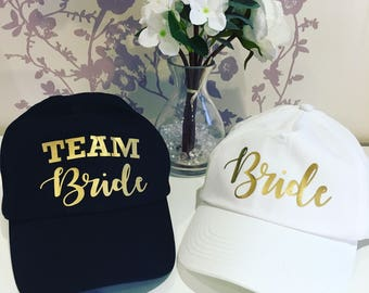 Set of 2 hen party hat, bachelorette party hat, Bride hat with Team Bride hats, bridal shower cap, bride cap, bridal cap