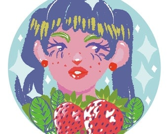 Miss Strawberry Mint Print