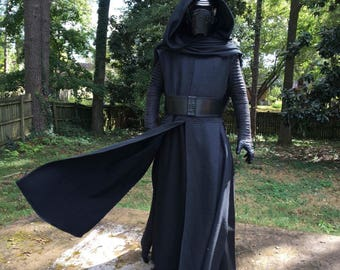 Star Wars KYLO REN hooded cape and Robe made with Coated Black Aprentice Fabric (JJ fabric V3)