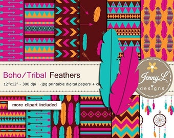 50% OFF Boho Feather Tribal digital papers and clipart SET, Dreamcatcher, Aztec Arrows for Digital Scrapbooking, birthday Planner wedding in