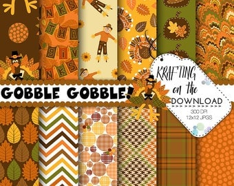 thanksgiving paper pack fall paper pack autumn paper pack turkey digital paper thanksgiving digital paper pack harvest paper pack