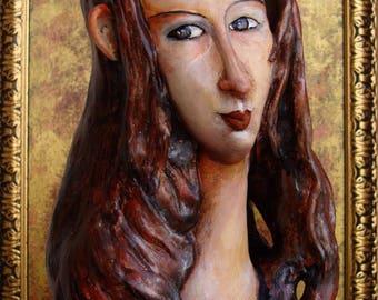 Modigliani art sculptured doll - Modigliani art interior figurine - Jeanne Hebuterne clay figurine doll - Collectible art clay doll