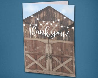 Rustic Barn Thank You Card • Bridal Shower Thank You • Wedding Thank You • Unique Thank You Card • Rustic Thank you • Barn • Thank you Card