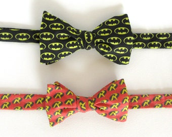 Batman and Robin Father Son Bow Tie Set / Self Tie Fathers Day Gift Mens Boys Super Hero Classic Cartoon DC Comics Freestyle Adjustable Bow