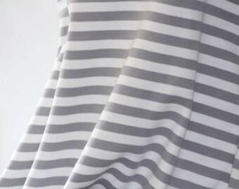 Alloy Grey White Stripes - C-Pauli - Organic Cotton Double Knit  UK Seller
