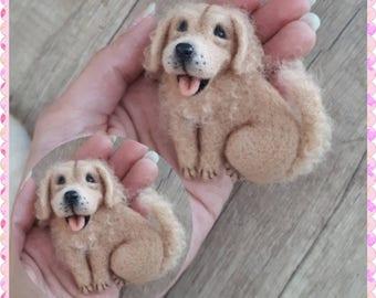 Needle felted brooch dog, Wool brooch, Miniature felt dog, Retriever, Golden retriever