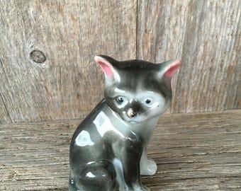 Ceramic Cat Figurine, Made in Japan