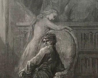 1884 The Raven By Edgar Allen Poe Original Gustave Dore #DorePoe13