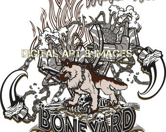 Boneyard Junkyard Dog Instant Download Printable Scalable Digital Clipart Designs T-Shirts, Stickers, Cell Covers, Tattoo, Journals
