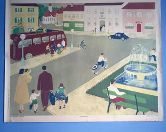 French School Poster by Armand Colin. Town Travel. Transport. 1950s Educational Wall Chart Kids Bedroom Nursery Decor. Wall Hanging