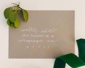Custom Hand-Lettered HOLIDAY Envelopes - Set of 50