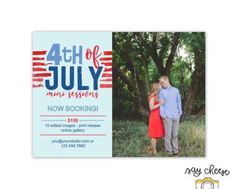 M-32 // 5x7 Fourth of July Mini Session Template, Marketing Board, Marketing Template, Mini Session Marketing, Photography Branding
