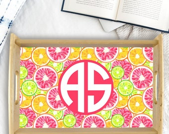 Custom Serving Tray Watercolor Citrus Monogram Style