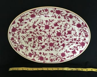 """Franciscan China Lorraine Maroon Large Serving Platter 16"""""""