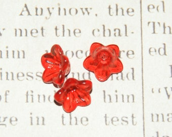 5 flowers red Corolla in acrylic transparent 12x7mm
