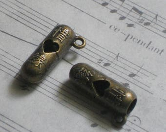 2 charms Chinese bronze 7x20mm message cartridge