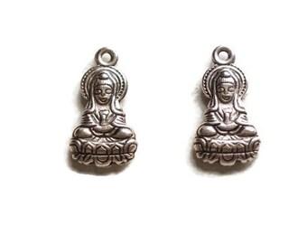 2 acrylic 27x14mm sitting Buddha charms