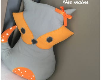 Cushion or blanket or stuffed Fox, grey and orange star unique and original handmade gift