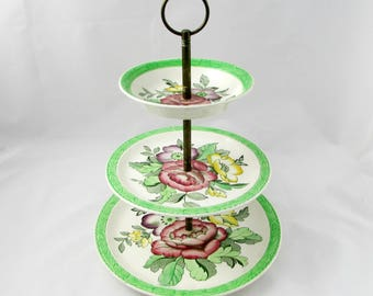 Three Tier Cake Stand by Royal Tudor Ware, Hand Painted Flowers