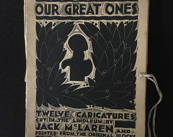 Presidential Savings Our Great Ones - Jack McLaren 1932 1st Edition #4 of 50 Ryerson Press 12 Linocut Prints & Biographies of Famous Canadia