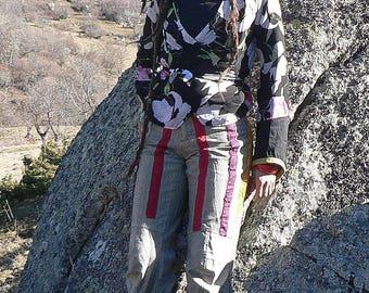 summer cotton patchwork pants