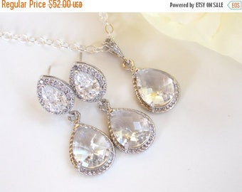 SALE Wedding Jewelry, Cubic Zirconia and Clear Earrings and Necklace, Sterling Silver, Bridal Jewelry, Wedding Gifts, Crystal, Set, Dangle,