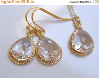 SALE Bridesmaid Jewelry Set, Crystal Earrings and Necklace Set, Clear, Gold Filled, Wedding Jewelry, Dangle, Bridesmaid Gift, Set,  Wedding