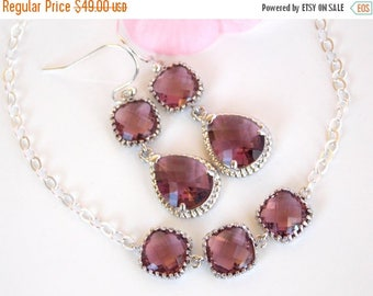 SALE Bridesmaid Jewelry, Plum Earrings and Bracelet Set, Burgundy, Eggplant, Purple,Bridesmids Gifts,Sterling Silver, Dangle, Bracelet Set,