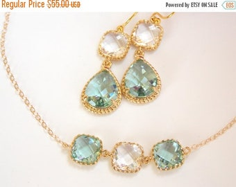 SALE Bridesmaid Jewelry, Erinite and Clear Earrings and Necklace Set, Aqua and Crystal, Gold Filled, Wedding Set, Drop, Dangle, Pendant, Gif