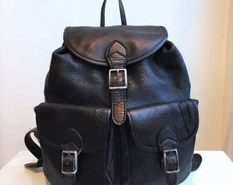 Black Leather Double-Pocket Backpack 1990's