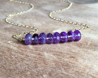 Amethyst Necklace - Gold Amethyst Necklace - February Birthstone Necklace - Sterling Silver Amethyst Necklace - Amethyst Jewelry