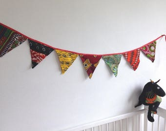 Bunting made from African fabric