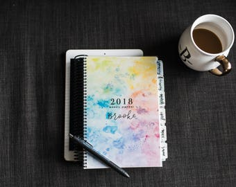 2018 Weekly Planner | Watercolor Design | 2018 Planner | Watercolor Personalized Agenda | Custom Planner | Motivational Planner