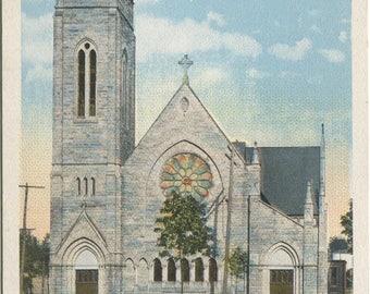 Saint Peter's Catholic Church Jamestown NY New York Vintage Postcard 916
